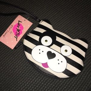 NWT Betsey Johnson black and white dog wristlet